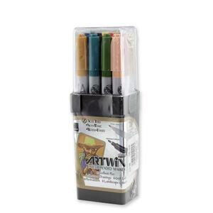 Marvy Artwin Double Ended Marker - Point Marker Point Style - Ochre Ink, Turquoise Ink, Olive Green Ink, Pale Orange Ink, Steel Blue Ink, Dark Brown Ink, Carmine Ink, Lemon Yellow Ink, Gold Ochre Ink, Beige Ink, Magenta Ink, Dark Gray Ink - 1 Dozen