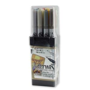 Marvy Artwin Double Ended Marker - Point Marker Point Style - Light Gray Ink, Oyster Gray Ink, Ash Gray Ink, Brownish Gray Ink, Blue Gray Ink, Cream Yellow Ink, Brilliant Yellow Ink, Light Brown Ink, Sepia Ink, Crimson Ink, Pale Pink Ink, Leaf Green Ink