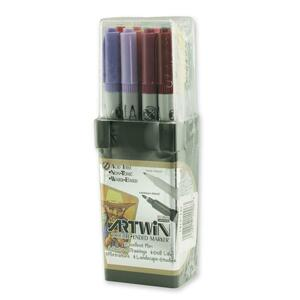 Marvy Artwin Double Ended Marker - Point Marker Point Style - Vermilion Ink, Ultramarine Ink, Aqua Gray Ink, Yellow Green Ink, Pale Blue Ink, Burnt Umber Ink, Iris Purple Ink, Dull Blue Ink, Rose Pink Ink, Peacock Green Ink, Rosemarie Ink, Salvia Blue Ink