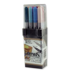 Marvy Artwin Double Ended Marker - Point Marker Point Style - Black Ink, Red Ink, Blue Ink, Green Ink, Yellow Ink, Brown Ink, Orange Ink, Violet Ink, Pink Ink, Light Blue Ink, Light Green Ink, Gray Ink - 12 / Set