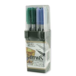 Marvy Artwin Double Ended Marker - Point Marker Point Style - Green Apple Ink, Emerald Ink, Periwinkle Ink, Sapphire Ink, Jade Ink, Evergreen Ink, Caribbean Blue Ink, Light Teal Ink, Amethyst Ink, Eggplant Ink, Black Cherry Ink, Tropical Ink - 12 / Set