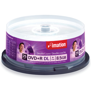 Imation 8x DVD+R Double Layer Media - 8.5GB - 120mm Standard - 25 Pack Spindle