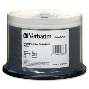 Verbatim 96862 DVD Recordable Media - DVD+R DL - 8x - 8.50 GB - 50 Pack Spindle VER96862