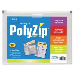 ITOYA PolyZip Horizontal Envelope - Letter - 8.5&quot; x 11&quot; - 1 Each - Clear