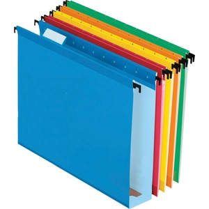 "Esselte Extra Capacity Hanging File Folder - 2"" Expansion - 1/5 Cut Tab - 8.5"" x 11"" - Letter - 20 / Box - Assorted"