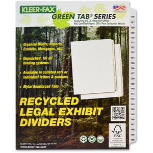 Kleer-Fax 80000 Series Side Tab Index Divider KLF83126