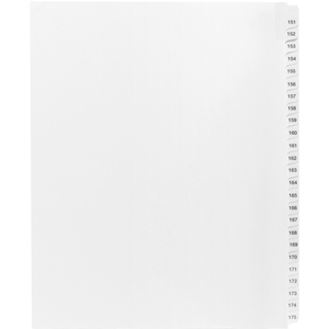 "Kleer-Fax 90000 Series Side Tab Index Divider - 25 x Tab Printed 151 to 175 - 8.5"" x 11"" - 25 / Set - White Divider"