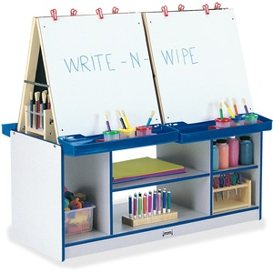 Jonti-craft, Inc Rainbow Accents 4 Station Art Center - Freckled Gray, Blue Standard - Floor Standing - Assembly Required - 1 Each