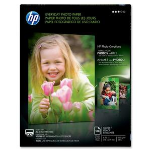 HP Everyday Glossy Photo Paper - Letter - 8.5&quot; x 11&quot; - 53lb - Glossy - 100 / Pack - White