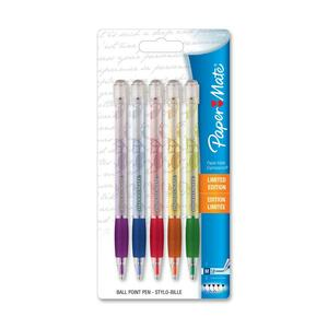 Paper Mate Expressions Ballpoint Pen - 1 mm Pen Point Size - Purple Ink, Blue Ink, Orange Ink, Red Ink, Green Ink - Assorted Barrel - 5 / Pack