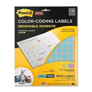 Post-it Super Sticky Color Coding Label - 120/Sheet - Removable - 1800 / Pack - Neon Blue, Neon Pink, Neon Yellow, Neon Limeade