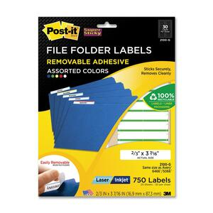 Post-it Super Sticky File Folder Label - 17mm Width x 87mm Length - 30/Sheet - Removable - 750 / Pack - Assorted