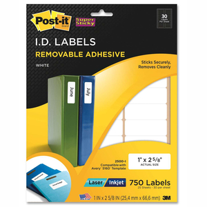 Post-it Super Sticky I.D. Label - 1&quot; Width x 2.62&quot; Length - 30/Sheet - Removable - 750 / Pack - White
