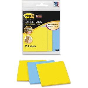 Post-it Super Sticky Compact Label Pad - 2.88&quot; Width x 2.88&quot; Length - Removable - 75 / Pack - Blue, Yellow