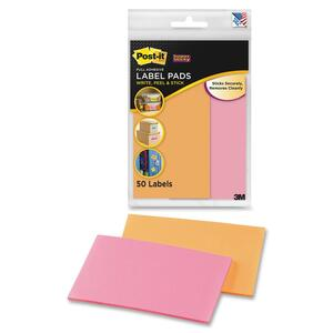 Post-it Super Sticky Label Pad - 2.88&quot; Width x 4.62&quot; Length - Removable - 50 / Pack - Orange, Pink