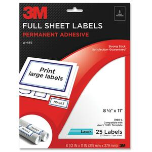 3M Permanent Adhesive Full Sheet Label MMM3100L