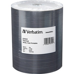 Verbatim 97015 DVD Recordable Media - DVD-R - 16x - 4.70 GB - 100 Pack Wrap VER97015