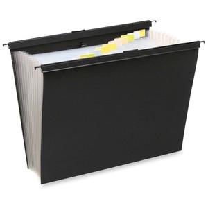 "Wilson Jones Slidebar Hanging Folder - 1.38"" Expansion - 8.5"" x 11"" - Letter - Black"