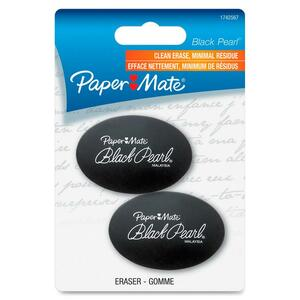 Paper Mate Black Pearl 1742567 Premium Eraser - Lead Pencil Eraser - Soft, Pliable, PVC-free, Latex-free - Rubber - 2 / Pack - Black