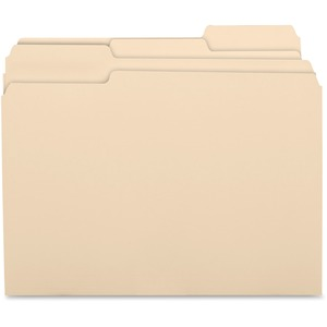 "Business Source Top Tab File Folder - Letter - 8.5"" x 11"" - 1/3 Tab Cut on Assorted Position - 0.75"" Expansion - 0.75"" Capacity - 100 / Box - 11pt. - Manila"
