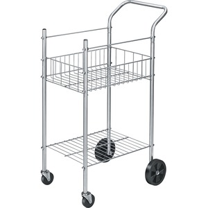 "Fellowes Double Basket Wire Mail Cart - 125 lb Capacity - Steel - 16.25"" x 26"" x 40"" - Silver"