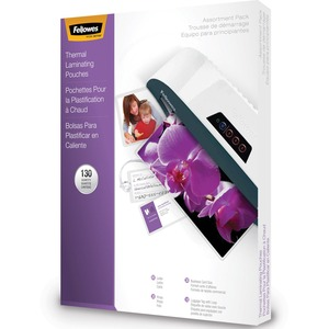 FELLOWES 130PK 3MIL GLOSSY ASSORTED LAMINATING POUCHES