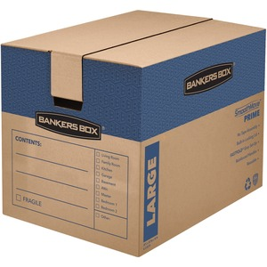 "Bankers Box SmoothMove Moving Box - Internal Dimension 18"" Height x 18"" Width x 24"" Depth x - External Dimensions 19"" Height x 18.25"" Width x 25"" Depth - Kraft - Brown"