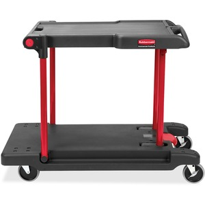 "Rubbermaid Convertible Mobile Cart - 2 Shelf - 400 lb Capacity - 4 x 5"" Caster - 24"" x 38"" x 45"" - Black"