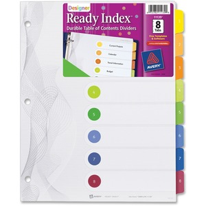 "Avery Designer Ready Index Table of Contents Divider - 8 x Tab Printed 1 to 8 - 8.5"" x 11"" - 8 / Set - White Divider - Multicolor Tab"