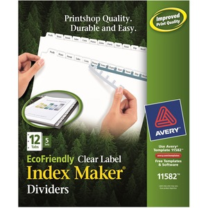 "Avery Eco-friendly Index Divider - 12 x Tab Print-on - 8.5"" x 11"" - 60 / Pack - White Tab"