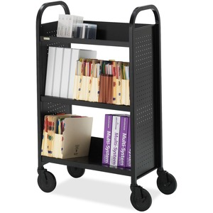 "Bretford Basics BOO327 Single Sided Book Truck - 3 Shelf - 4 x 4"" Caster - Steel - Black"