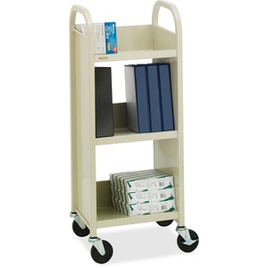 "Bretford Basics L33017 Thin-Line Single Sided Book Equipment Truck - 3 Shelf - 4 x 4"" Caster - Steel - Putty, Beige"