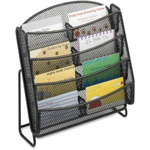"Safco Mesh Business Card Holder - 8.75"" x 8.75"" x 3"" - Steel - Black"