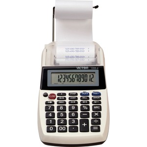 "Victor Portable Palm/Desktop Printing Calculator - 12 Character(s) - LCD - Power Adapter Powered - 1.75"" x 4"" x 8"" - White, Black"