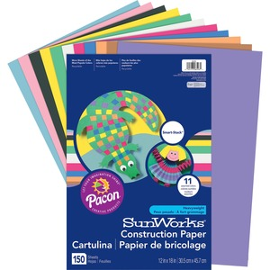 "SunWorks Smart-Stack Construction Paper - 18"" x 12"" - Blue, Pink, Yellow, Scarlet, Black, Orange, Violet, Brown, White, Sky Blue, Holiday Green"