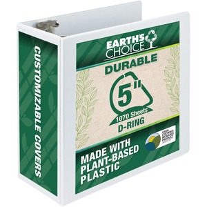 "Samsill Earth's Choice Biodegradable D-Ring View Binder - Letter - 8.5"" x 11"" - 5"" Capacity - 6 / Carton - White"