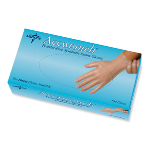 Medline Accutouch Disposable Examination Gloves - X-Large Size - Powder-free, Ambidextrous - Vinyl - 100 / Box - Clear