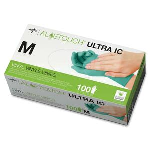 Medline Aloetouch Ultra Examination Gloves - Medium Size - Latex-free, Powder-free - Vinyl - 100 / Box - Green