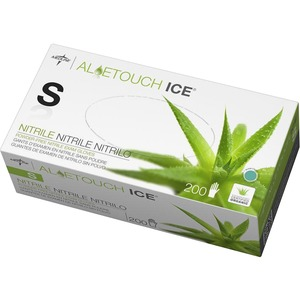 Medline Aloetouch Ice Examination Gloves - Small Size - Latex-free, Textured, Powder-free - Nitrile - 200 / Box