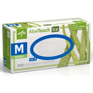 Medline Aloetouch Ice Examination Gloves - Medium Size - Latex-free, Textured, Powder-free - Nitrile - 200 / Box
