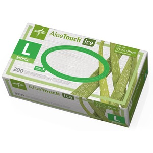 Medline Aloetouch Ice Examination Gloves - Large Size - Latex-free, Textured, Powder-free - Nitrile - 200 / Box