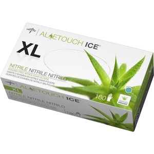Medline Aloetouch Ice Examination Gloves - X-Large Size - Latex-free, Textured, Powder-free - Nitrile - 200 / Box