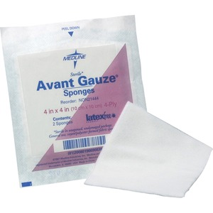 "Medline Avant Gauze Non-Sterile Sponge - 4 Ply - 4"" x 4"" - 200 / Pack - White"