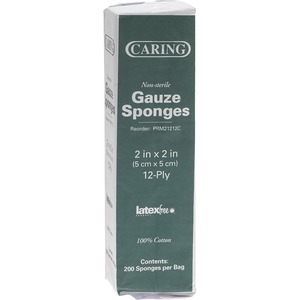 "Medline CARING Woven Gauze Sponge - 12 Ply - 2"" x 2"" - 200 / Box - White"