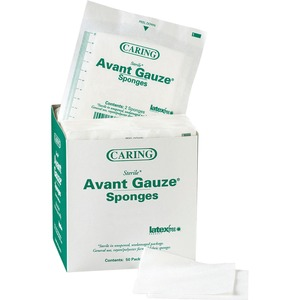 "Medline CARING Non-woven Gauze Sponge - 4 Ply - 2"" x 2"" - 50 / Box - White"