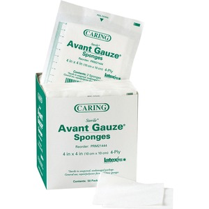 "Medline CARING Non-woven Gauze Sponge - 4 Ply - 4"" x 4"" - 50 / Box - White"