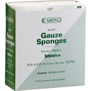 "Medline CARING Woven Gauze Sponge - 12 Ply - 4"" x 4"" - 50 / Box - White"
