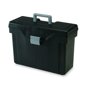 "Iris HFB-41 Portable File Box - Letter, Legal - External Dimensions 11.75"" Height x 16.38"" Width x 7.25"" Depth - Black, Light Gray"