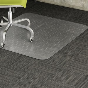 "Lorell Rectangular Low Pile Chair Mat - 60"" Length x 46"" Width x 0.38"" Thickness Overall - Vinyl - Clear"