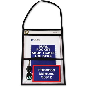 Stitched Dual Pocket Shop Ticket Holder with Hanging Strap